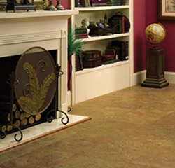 Cork flooring accents beautiful fireplace